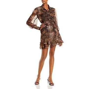 Bardot Bessie Snake Print Belted Mini Dress