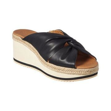 Andre Assous Prune Leather Wedge Sandal