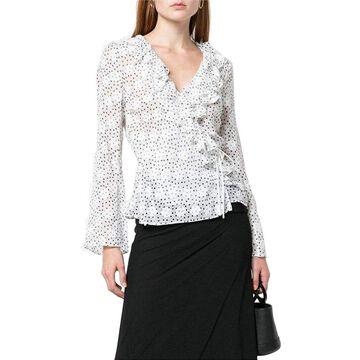 Saloni Womens Iman Dot Sheer Silk-Blend Top