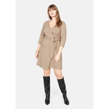 Violeta BY MANGO - Checked print dress medium brown - 18 - Plus sizes