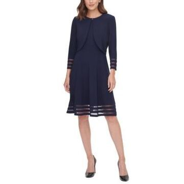 Jessica Howard Petite Illusion-Stripe Jacket & Dress