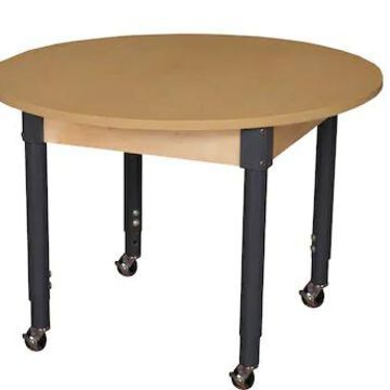 Wood Designs Mobile 42 Round High Pressure Laminate Table with Adjustable Legs 20-31 (HPL42RNDA1829C | Quill
