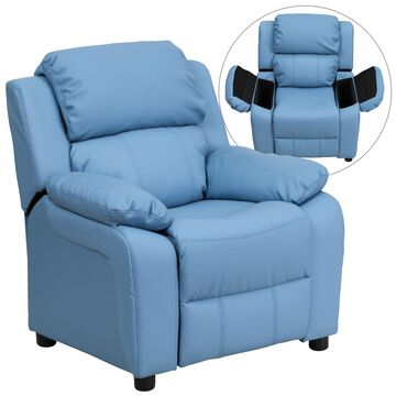 Flash Furniture 28-in Light Blue Vinyl Upholstered Kids Accent Chair | 847254018241