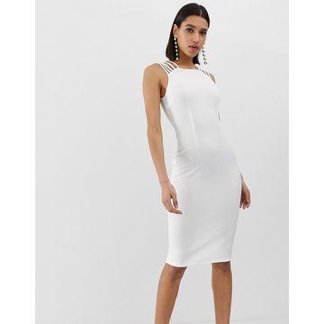 AX Paris strap detail bodycon dress in white