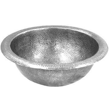 HOUZER Hammerwerks Pewter Copper Drop-In Round Bathroom Sink with Overflow Drain (15-in x 15-in) in Silver
