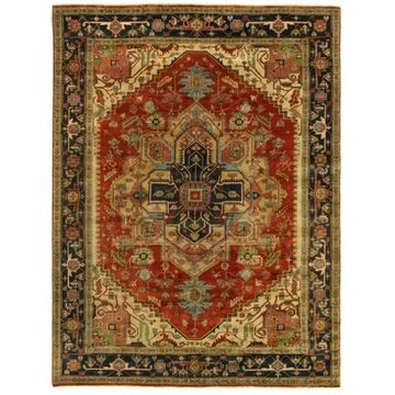Exquisite Rugs Serapi Red / Blue New Zealand Wool Rug - 4' x 6'