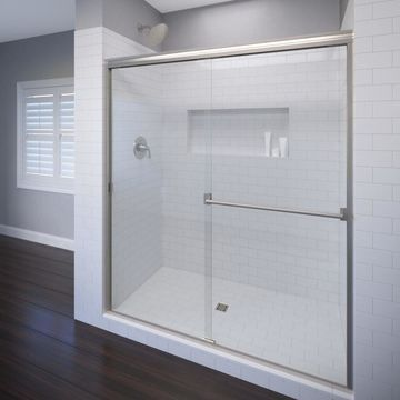 Basco Classic 56-in to 60-in W Semi-frameless Bypass/Sliding Brushed Nickel Shower Door