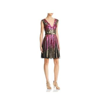 Aidan Mattox Womens Cocktail Dress Sequined Mesh