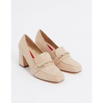 London Rebel chain detail heeled loafers in beige