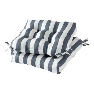 Greendale Home Fashions Canopy Stripe Gray Outdoor Square Seat Cushion (2-pack)