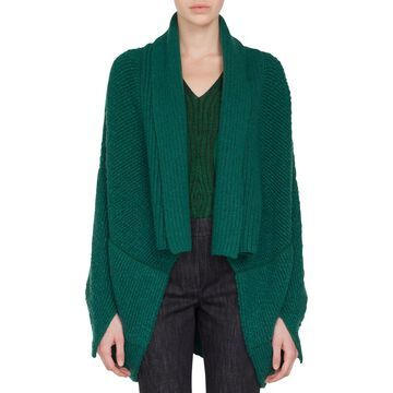 Open-Front Asymmetric-Cut Boucle Cashmere-Wool Cardigan