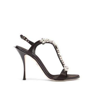 Dolce & Gabbana - Crystal-embellished Suede T-bar Slingback Sandals - Womens - Black Silver