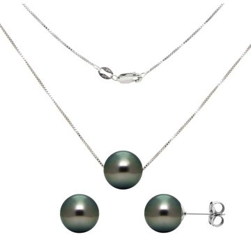 DaVonna Sterling Silver Tahitian Pearl Pendant and Earring Jewelry Set - Black