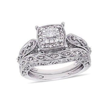 Miabella 1/5 Carat T.W. Diamond Sterling Silver Halo Infinity Engagement Ring and Band Bridal Set