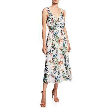 Floral Ruffle Self-Tie Midi Dress