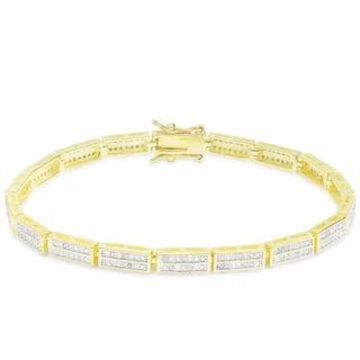 Finesque 1ct TDW Diamond Link Bracelet (Yellow - Gold Plate)