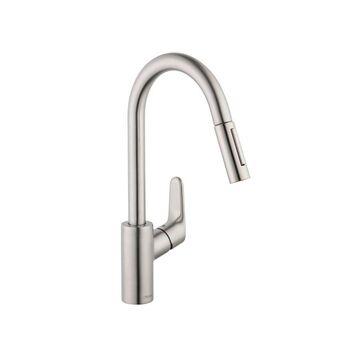 Hansgrohe Focus Steel Optik 1-Handle Deck-Mount Pull-down Handle Kitchen Faucet