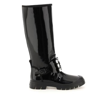 Roger vivier walky viv leather boots with strass buckle