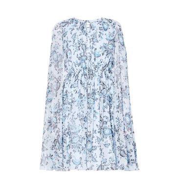 Erdem - Austin Graphic Vine-print Silk-voile Dress - Womens - Blue Multi
