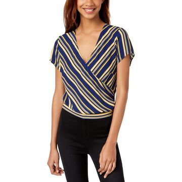 Ultra Flirt Womens Juniors Striped Short Sleeves Wrap Top