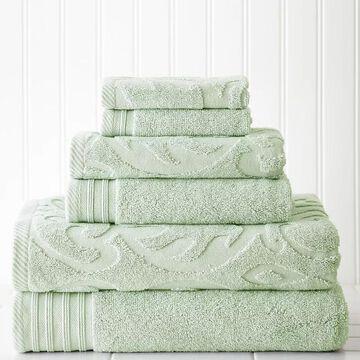 Pacific Coast Textiles 6-piece Jacquard Medallion Swirl & Solid Mix & Match Towel Set, Green, 6 Pc Set