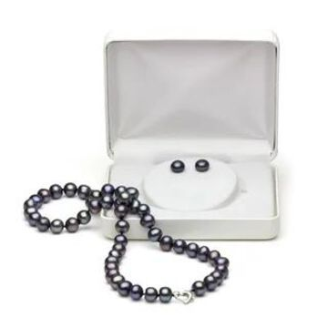 DaVonna Heart Shape Sterling Silver 8-8.5mm Freshwater Pearl Necklace and Stud Earrings Set (Black - Black - Black)