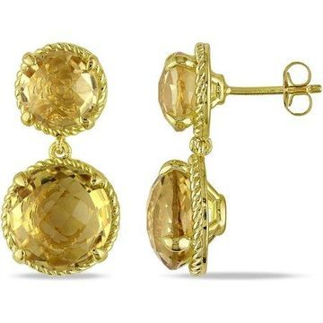 Tangelo 16-1/3 Carat T.G.W. Citrine Yellow Rhodium-Plated Sterling Silver Double Checkerboard Dangle Earrings