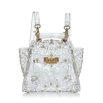 Zac Zac Posen Eartha Floral Applique Clear Convertible Backpack