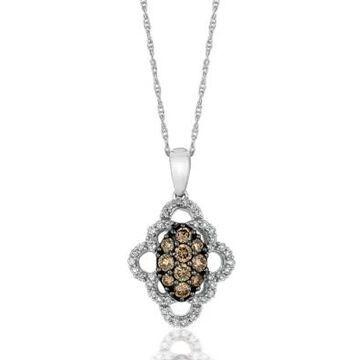 Le Vian Women 1/3 Ct. T.W. Chocolate Diamond And 1/5 Ct. T.W. Vanilla Diamond Pendant In 14K White Gold - -