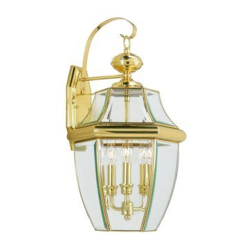 Livex Lighting Monterey 22.5-in H Polished Brass Electrical Outlet Candelabra Base (E-12) Outdoor Wall Light   2351-02