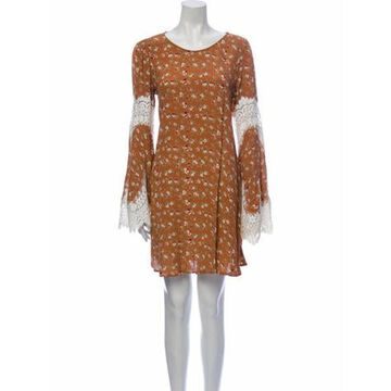 Floral Print Mini Dress Orange