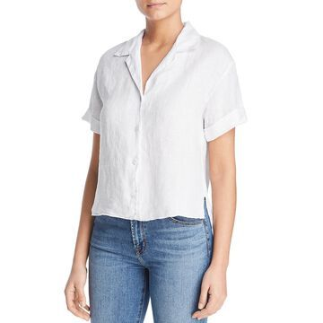 Three Dots Womens Linen Collared Button-Down Top