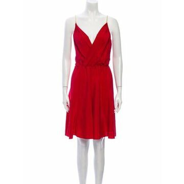 Silk Knee-Length Dress Red