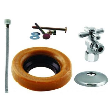 Toilet Kit w/ 1/4-Turn Stop & Wax Ring - Cross Handle In Polished Chro