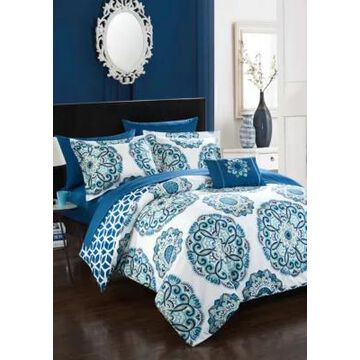 Chic Home Barcelona Complete Comforter Set With Sheets - Blue - -