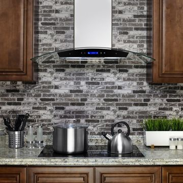 Golden Vantage RH0275 36 in. Wall Mount Range Hood in Stainless Steel with Tempered Glass, Touch Control and Carbon Filters