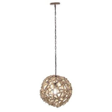 Decmode Rustic Driftwood and Iron Pendant, Brown