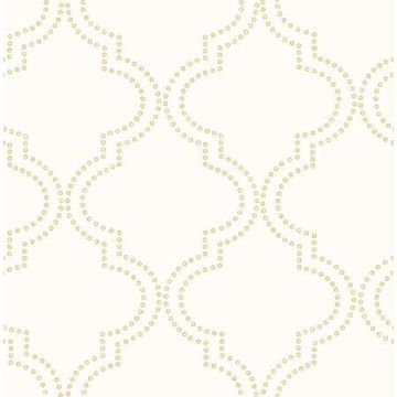 Brewster Tetra Cream Quatrefoil Wallpaper