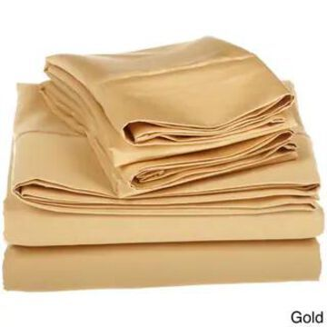 Superior Egyptian Cotton 1500 Thread Count Solid Bed Sheet Set (California King - Gold)