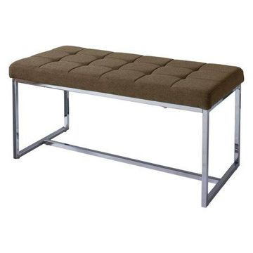 CorLiving Modern Fabric Wide Bench with Chrome Base