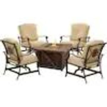 Hanover Summer Nights 5-Piece Aluminum Frame Patio Conversation Set with Cushions