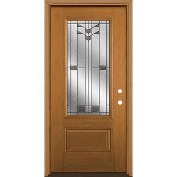 Masonite Frontier 36-in x 80-in Fiberglass 3/4 Lite Left-Hand Inswing Oakcrest Stained Prehung Single Front Door with Brickmould in Brown
