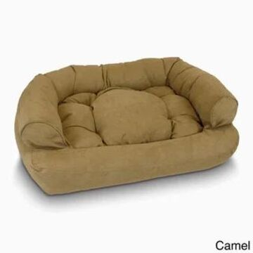 Snoozer Overstuffed Solid Luxury Microsede Pet Sofa (Camel - 36