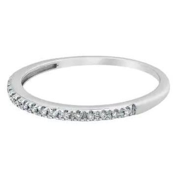 10k Gold Diamond Stackable Band Ring by Beverly Hills Charm (White - 7)