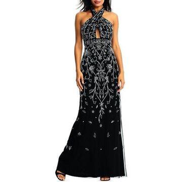 Aidan Mattox Womens Halter Embellished Formal Dress