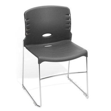 OFM Plastic Stacking Chair in Gray