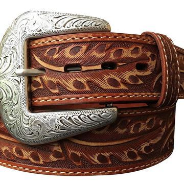 Roper Western Belt Mens Hand Tooled Feather 8610500