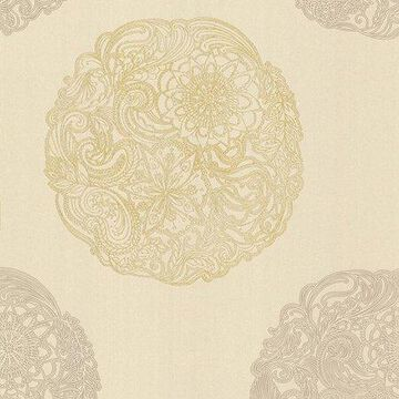 Kenneth James Cordova Taupe Medallion Wallpaper