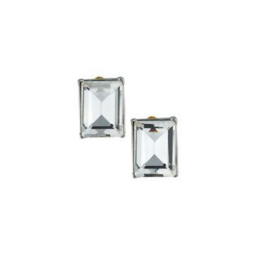 Rectangular Stone Stud Earrings, Silver