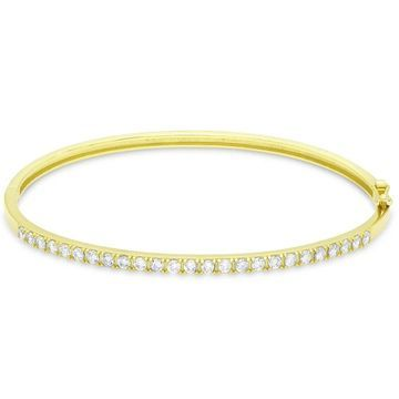 Dolce Giavonna Sterling Silver Cubic Zirconia Tennis Style Bangle